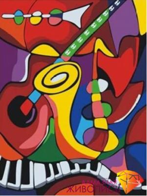 Цвета музыки (АЖ-1181)  картина стразами - Мозаика из страз «Алмазная живопись»