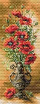 1706 Пылающие маки  рисунок на канве (МП) - Рисунок на ткани «Матрёнин посад» (канва с рисунком)