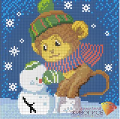 Обезьянка и снеговик (АЖ-1274)  картина стразами - Мозаика из страз «Алмазная живопись»