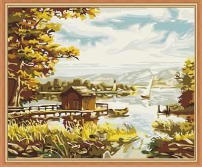 Набор для раскрашивания по номерам Menglei MG085 Озеро с домиком - раскраска (Menglei)