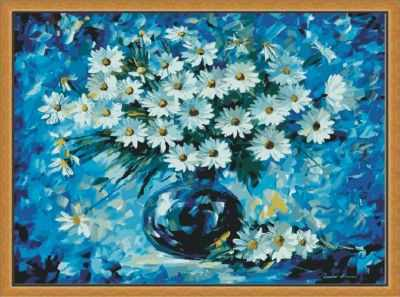MG535 Ромашки в синем  раскраска (Menglei) - Наборы для раскрашивания по номерам «Menglei»
