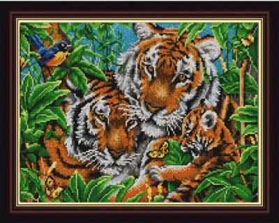 Основа для вышивания с нанесённым рисунком Конёк НИК 9836 Тигры - схема для вышивания (Конёк) основа для вышивания с нанесённым рисунком конёк ник 1245 сладкие сны схема для вышивания конёк