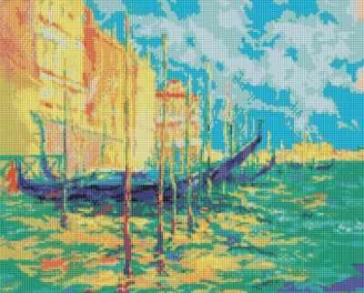 233-ST Стоянка гондол. Венеция  мозаичная картина (Белоснежка) - Мозаика «Белоснежка»