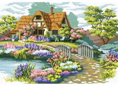 7540-РК Мостик в цветах (Белоснежка)
