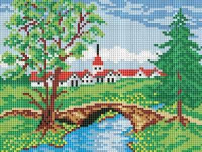 198-ST Летний мостик  мозаичная картина (Белоснежка) - Мозаика «Белоснежка»