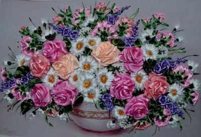 Набор для вышивания Рисуем лентами 040-100 Букет с розами