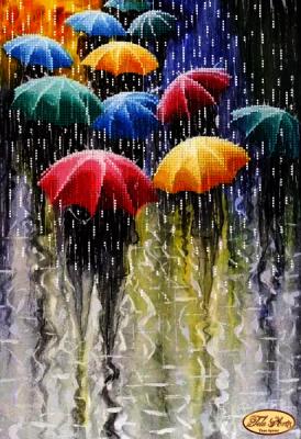 Основа для вышивания с нанесённым рисунком Tela Artis ТА-220 - Веселые зонтики - схема для вышивания (Tela Artis)