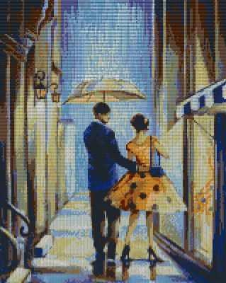 Прогулка под дождем (АЖ-1302)  картина стразами - Мозаика из страз «Алмазная живопись»