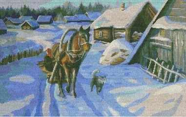 Набор для вышивания Nitex 0113 Зима в деревне набор для вышивания крестом nitex прогулка в санях 44 х 26 5 см page 5