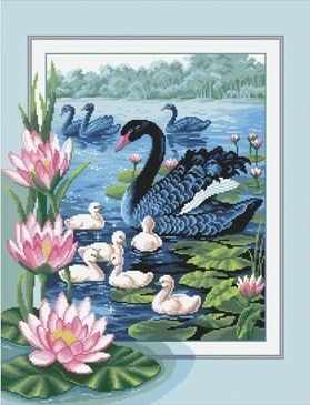 Набор для вышивания Nitex А-0047 Черные лебеди