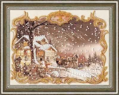 Набор для вышивания Золотое Руно РТ-119 Снежный пейзаж. Рисунок на ткани