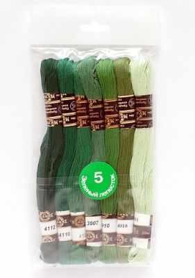 Набор мулине х/б Цветик-семицветик 5 Зеленый лепесток 7 шт.