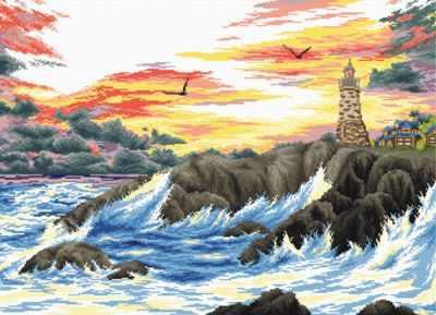 S-070  Скалистый берег  - Наборы для вышивания крестиком «HobbyPro»