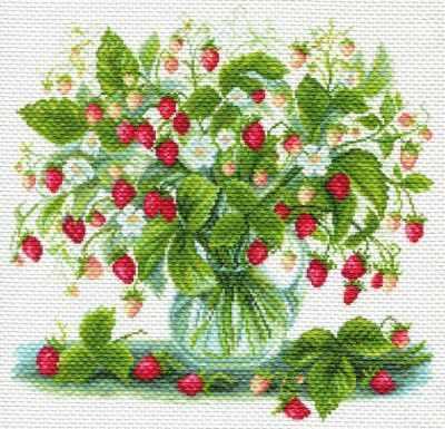 Основа для вышивания с нанесённым рисунком Матрёнин Посад 1749 Земляничный букет - рисунок на канве (МП) набор для вышивания крестом rto букет хризантем 50 х 40 см