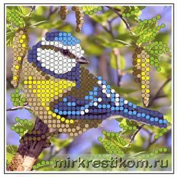 Основа для вышивания с нанесённым рисунком Искусница ББ-007 Синичка - схема для вышивания (Искусница) набор для вышивания искусница м8166 черный кот