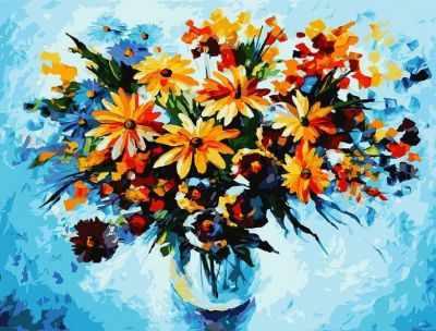 Набор для рисования по номерам Белоснежка 3012-CS Разноцветные ромашки - раскраска (Белоснежка)