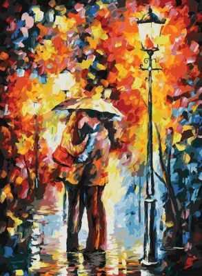 Набор для рисования по номерам Белоснежка 3015-CS Поцелуй под дождем - раскраска (Белоснежка)