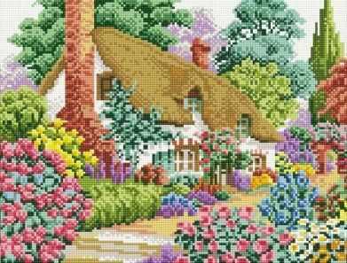 080-ST-S Дом в саду  мозаика на подрамнике (Белоснежка) - Мозаика «Белоснежка»