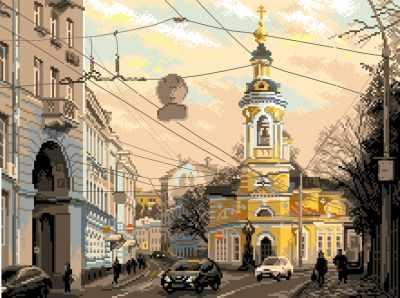 Основа для вышивания с нанесённым рисунком Матрёнин Посад 1800 Москва,ул.Солянка - рисунок на канве (МП)