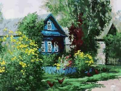 Купить со скидкой 091-AS Домик в деревне - раскраска (Белоснежка)