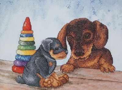806  Два щенка  - Наборы для вышивания крестиком «HobbyPro»