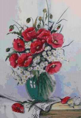 Мозаичная картина Anya Алмазная вышивка 50107 Маки и ромашки - мозаика Anya стилус