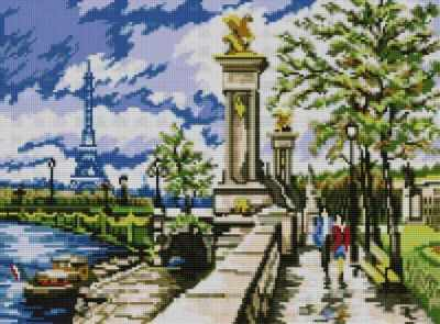 Мозаичная картина Anya Алмазная вышивка 50062 Набережная в Париже - мозаика Anya стилус