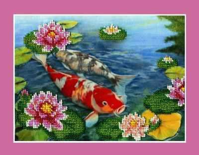 НР-030  Карпы в пруду  (Анюша) - Наборы для вышивания бисером ТМ «Анюша»