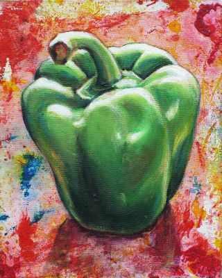 Зеленый перец (АЖ-1381)  картина стразами - Мозаика из страз «Алмазная живопись»