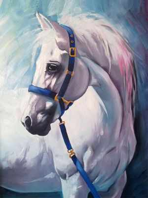 Грезы белого коня (АЖ-1387) - картина стразами