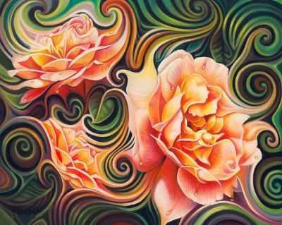 Розы в абстракции (АЖ-1393) - картина стразами