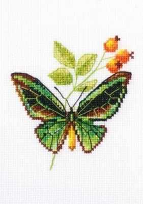 Набор для вышивания РТО EH363 - Веточка шиповника и бабочка