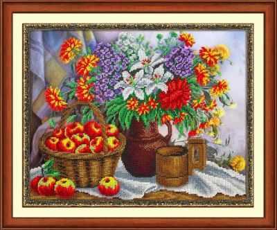 Б1248 Яблоки и садовый букет (Паутинка) - Наборы для вышивания «Паутинка»