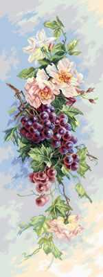 1820 Виноградная лоза  рисунок на канве (МП) - Рисунок на ткани «Матрёнин посад» (канва с рисунком)
