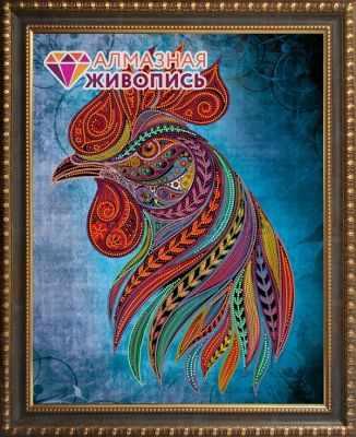 Алмазная мозаика Алмазная живопись Алмазная вышивка Петух стихии огня (АЖ-3001)