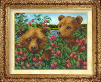 705 Медвежата в малиннке (РИ) - Наборы для вышивания «Русская искусница»