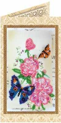 Купить со скидкой АО-130 Набор для вышивки бисером «Открытка» Цветы и бабочки