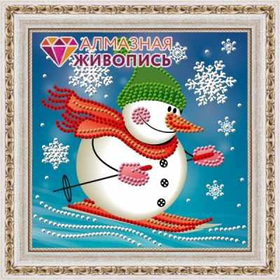 Алмазная мозаика Алмазная живопись Алмазная вышивка Снеговик лыжник (АЖ-3011) - картина стразами стилус