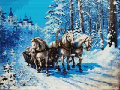 Купить со скидкой 50153 Тройка лошадей - мозаика Anya