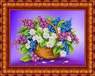 Основа для вышивания с нанесённым рисунком Каролинка КБЦ 4028 Сирень с ромашками - схема для вышивания (Каролинка)