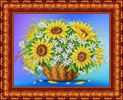 Основа для вышивания с нанесённым рисунком Каролинка КБЦ 4029 Подсолнухи с ромашками - схема для вышивания (Каролинка)