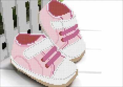 Основа для вышивания с нанесённым рисунком Мастерица КМЧ-4428 Пинетки для девочки - схема для вышивания (Мастерица)