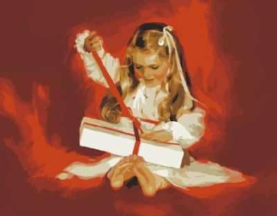 Набор для раскрашивания по номерам Menglei MG1033 Девочка с подарком - раскраска (Menglei)