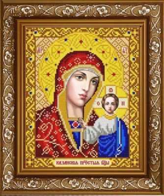 ИС-4002 Казанская Божия Матерь в золоте  - схема (Славяночка)