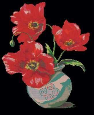 Алмазная мозаика Белоснежка Алмазная вышивка 203-RS Маки в вазе (Белоснежка) алмазная мозаика тм цветной нежные цветы в белой вазе 40x50 см