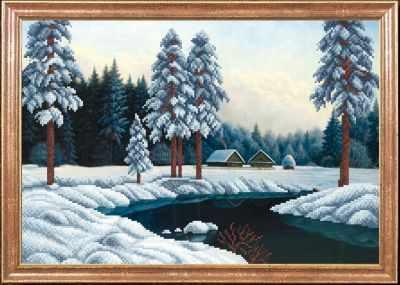 КС-036 Зимняя река  Магия канвы - Рисунки на ткани «Магия канвы»