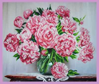 Купить со скидкой Р-290 Букет розовых пионов - набор для вышивания