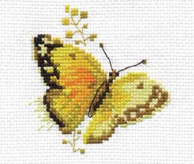 Набор для вышивания Алиса 0-147 Яркие бабочки. Желтая