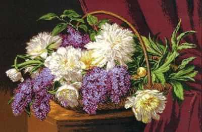 Набор для вышивания Goblenset 1025 Корзина с лилиями и пионами