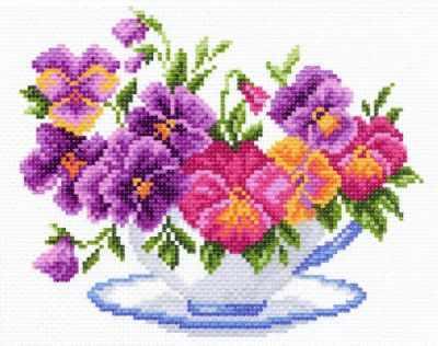 Основа для вышивания с нанесённым рисунком Матрёнин Посад 1287-1 Чашка с виолой канва с нанесенным рисунком матренин посад малинка для вышивания крестом 16 х 20 см